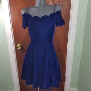 Vintage Roberta Velvet Off Shoulder Scallop Dress